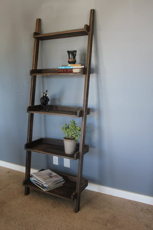 "21""W x 4""D x 78""H Ladder Bookshelf in Vintage Dark Walnut Stain."