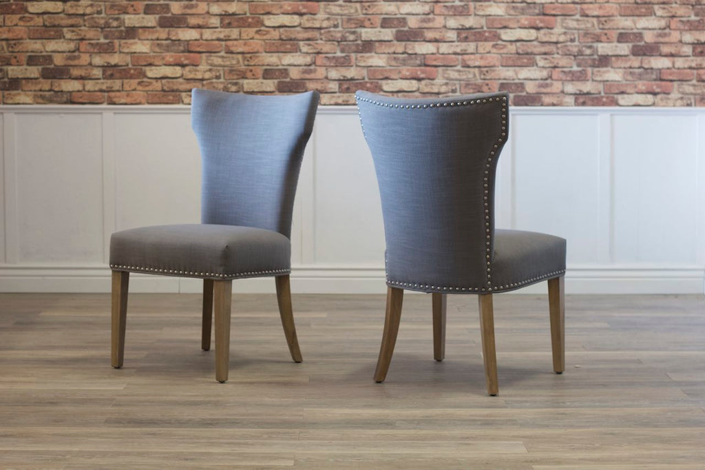 Morgan Linen Dining Chair with Nailhead Trim.