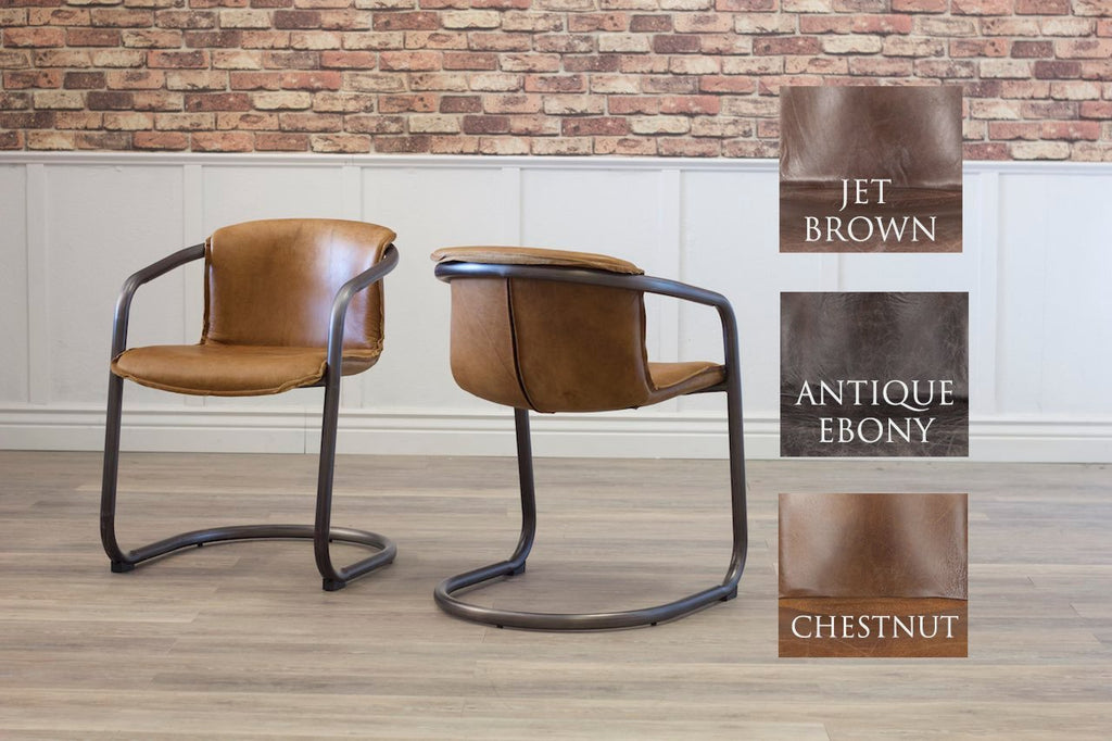 LAWSON LEATHER AND METAL DINING CHAIR