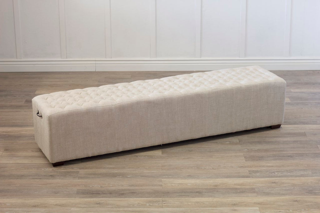 Hadley Tufted Linen Bench