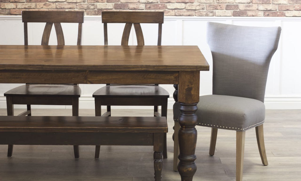 Morgan Linen Dining Chair with Nailhead Trim paired with Dark Walnut stained Elizabeth Chairs, a Dianne Bench, and a Baluster Turned Leg Table.