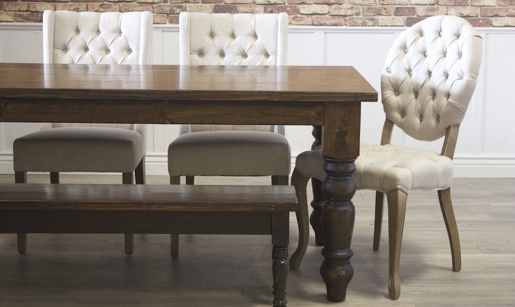 Sophie Round Tufted Linen Chair paired with Off White Lauren Tufted Linen Chairs, and  Dark Walnut stained Dianne Bench and Baluster Turned Leg table.