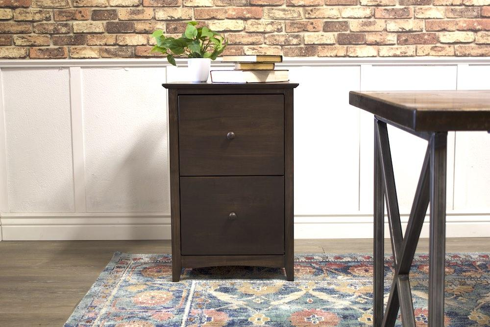 2 Drawer Filing Cabinet in Tobacco Finish.