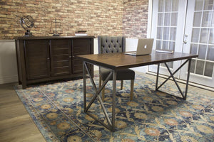 Sadie Sideboard in Tobacco Finish paired with a Contemporary Computer Desk with a Tobacco Finished top.