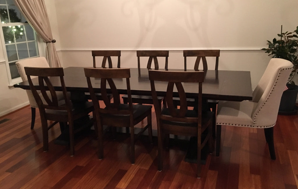 Elizabeth Wood Dining Chairs in a Tobacco Finish. Pictured with an Heirloom Pedestal Table.