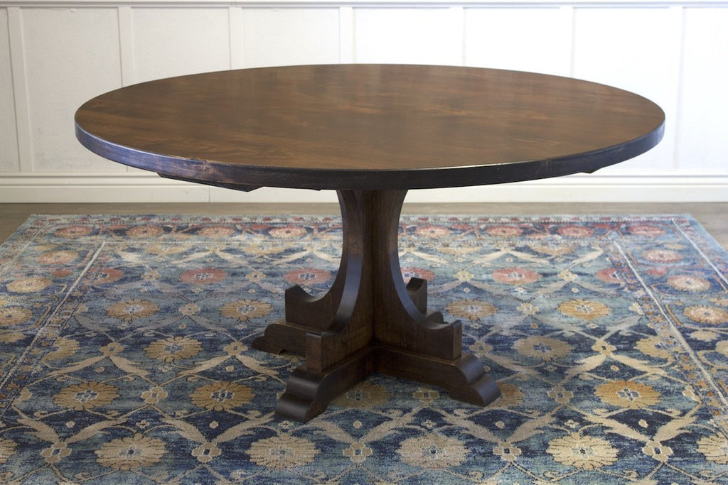"60"" Caroline Round Pedestal Table in Tobacco Finish. All knots filled per customer's request."