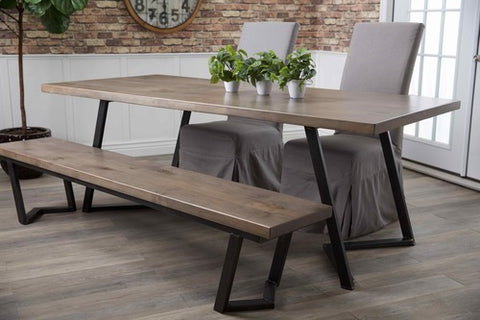 "7' x 37"" Arkwright Dining Table in Barn Wood Finish. Pictured with our Arkwright Bench and Parson Linen Chairs."