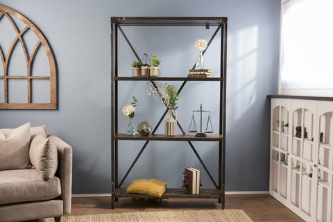 "Custom Factory Metal Bookshelf approx. 81"" Tall x 5' W x 11.25"" D with 4 shelves."