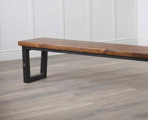 Industrial Steel Trapezoid Dining Bench in Tuscany Finish.