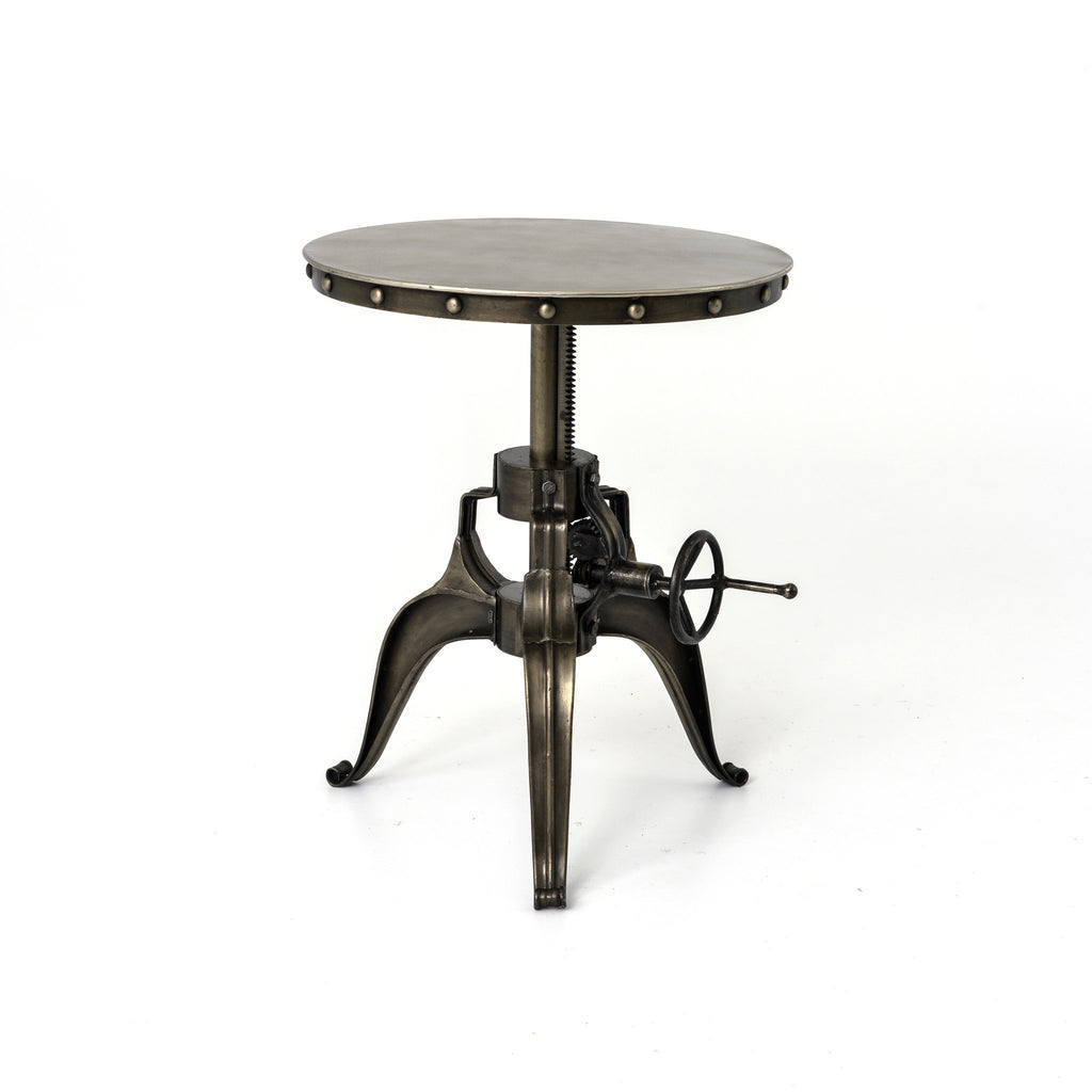 Industrial Crank End Table with Rivets