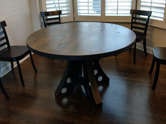 "48"" Round Amelia Industrial Pedestal Table built to expand to 60"" Oval - Call to Customize!"