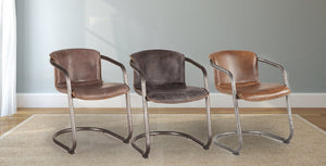 Jet Brown Leather, Antique Ebony Leather, and Chestnut Leather Lawson Chairs.