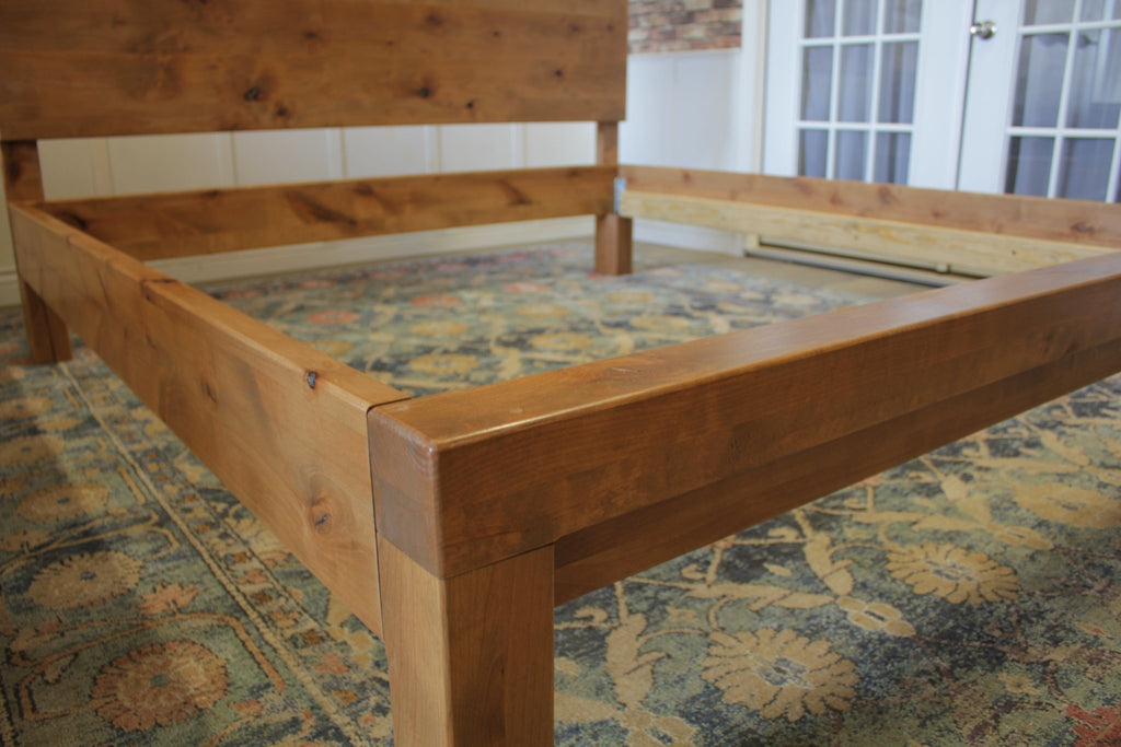Live Edge Bed base detail in Harvest Wheat Finish