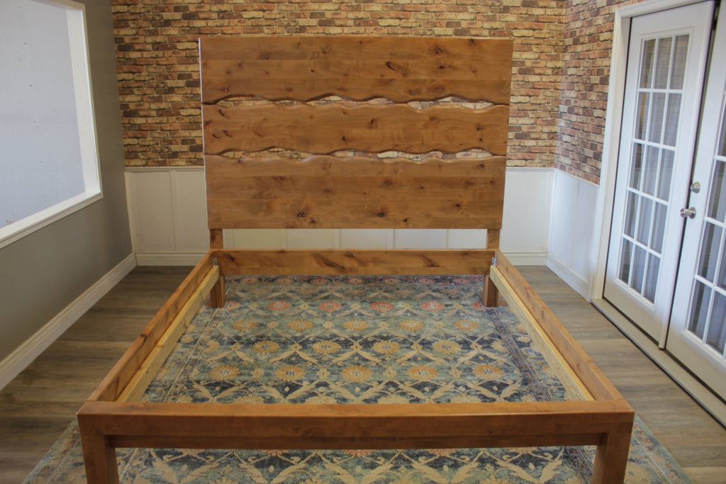 Live Edge Bed in Harvest Wheat Finish with Extra Tall Headboard and Foot Rail