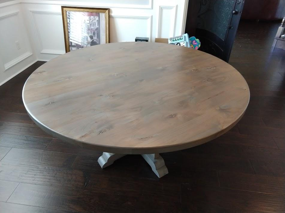 "60"" Caroline Round Table in Barn Wood Finish."