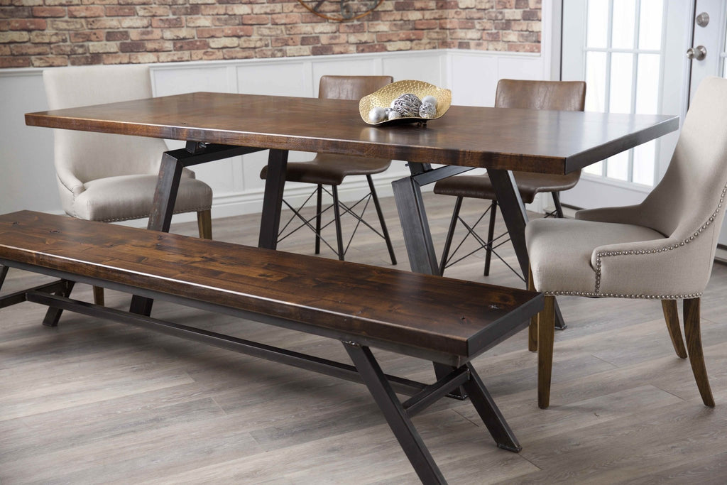 7' Fulton Modern Industrial Dining Bench in Tobacco Finish. Pictured with our Ashford Linen chairs, our Fulton Table, and our Josiah side chairs.