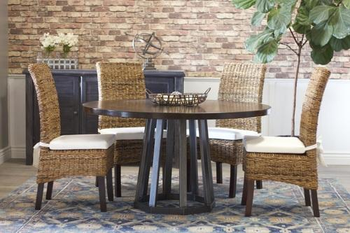 "54"" Rustic Industrial Round Pedestal Table in Tobacco Finish."