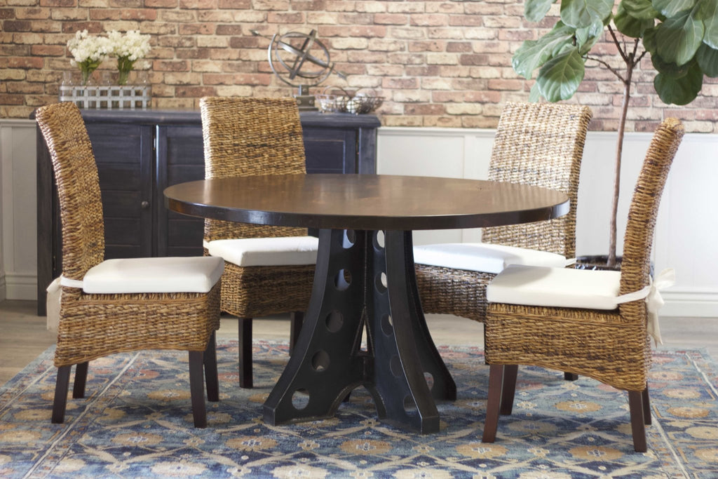 "Round Amelia Industrial Pedestal Table, 54"", in Tobacco Finish."