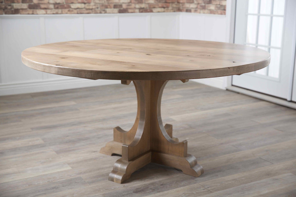 "60"" Caroline Round Table in Harvest Wheat Finish."