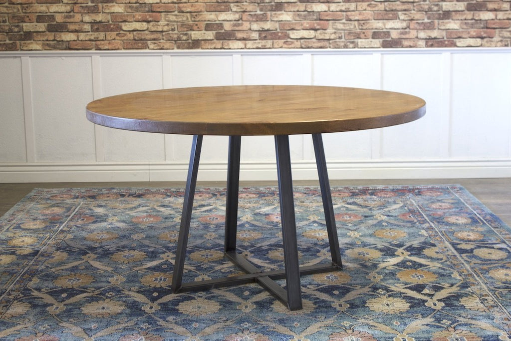 Round Watson Industrial Steel Pedestal Table in Harvest Wheat Finish.