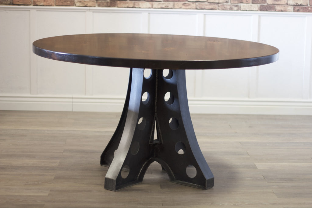 "54"" Round Amelia Industrial Pedestal Table with Tobacco Finish."