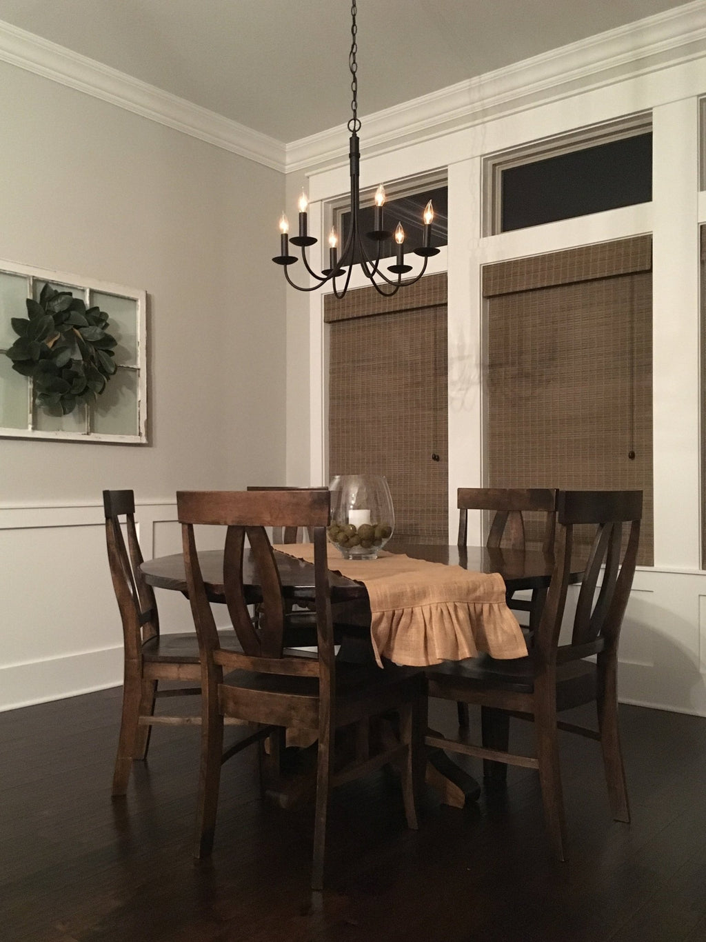 "Elizabeth Dining Chairs in Tobacco Finish. Pictured with a 60"" Round Pedestal Table."