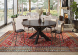 "60"" Round Shiloh table in Tobacco finish on the Selah rug with our Josiah Side chairs."