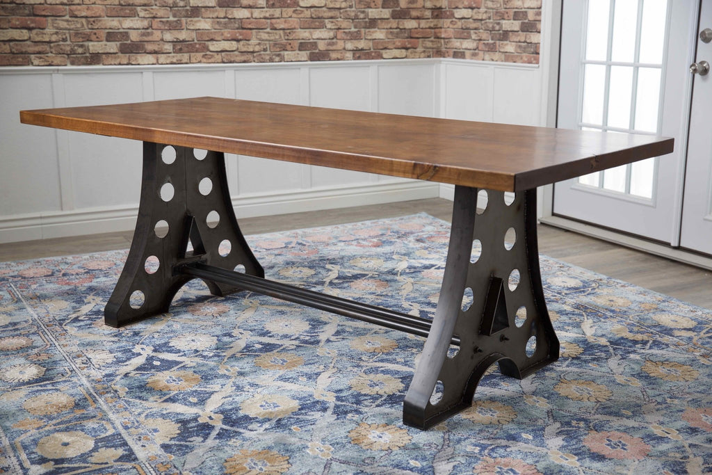 "7' x 37"" Amelia Industrial Table in Tuscany Finish."