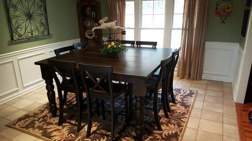 "66"" x 66"" x 36"" H Counter Height Square Table with Baluster Turned Legs in Tobacco Finish with a Boarded Look with Endcaps top style. Paired with X-Back Stools."
