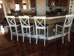 X-Back Bar Stool painted Ivory, lightly distressed per request.