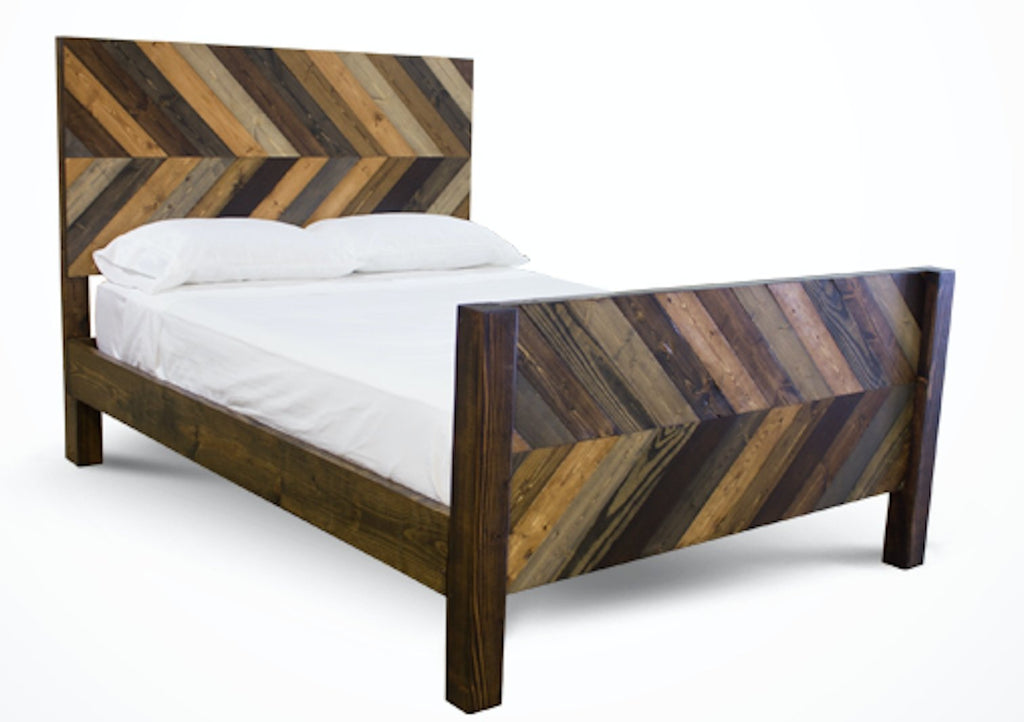 Queen Journeyman Bed with Standard Headboard and Footboard in Multi-colored stain.