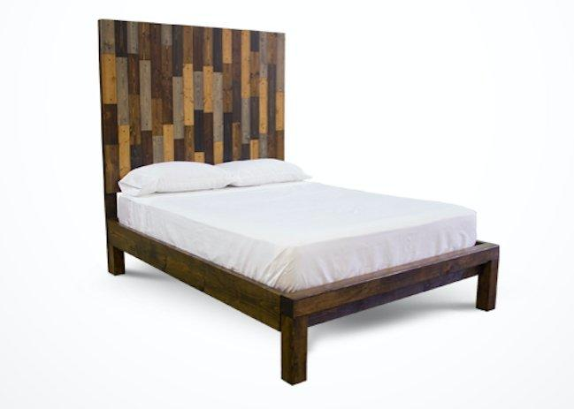 Queen Forester Bed with Extra Tall Headboard and Standard Foot Rail in Multi-colored stain.