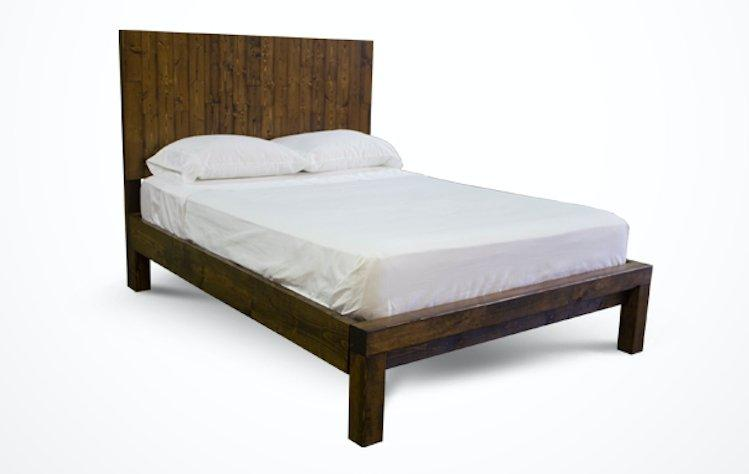 Queen Forester Bed with Standard Headboard and Standard Foot Rail in Dark Walnut stain.