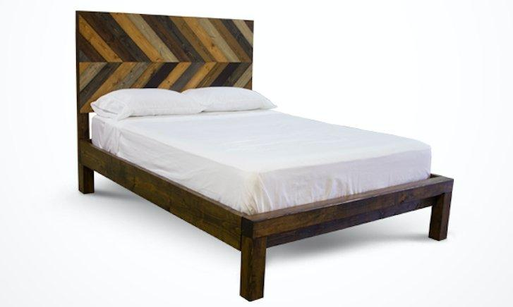 Queen Journeyman Bed with Standard Headboard and Standard Foot Rail in Multi-colored stain.