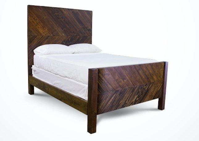 Queen Journeyman Bed with Extra Tall Headboard and Footboard in Dark Walnut stain. Pictured with boxspring.
