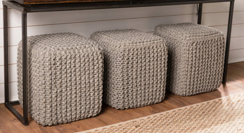 3 Poufs Displayed