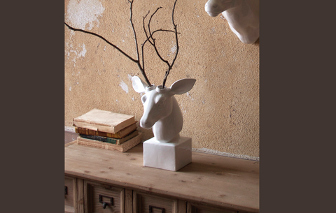 Tabletop white ceramic deer head