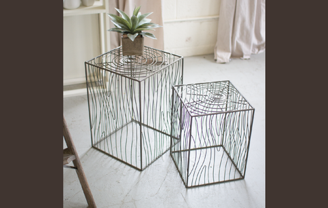 Wire Woodgrain Accent Tables