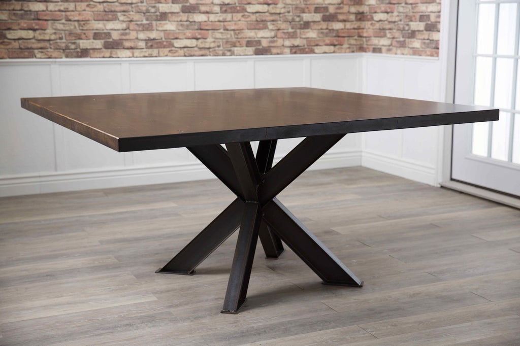 "60"" Square Shiloh Steel Industrial Welded Pedestal Table in Tobacco Finish."