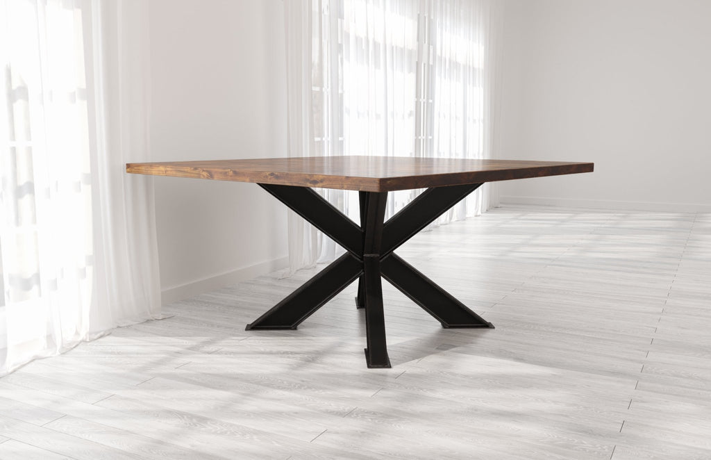 Square Shiloh Industrial Steel Pedestal Table