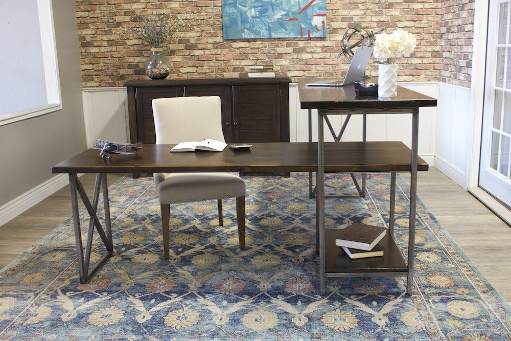 Sit or Stand Corner L-Shaped Desk in Tobacco Finish.