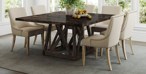 "60"" Square Shiloh Table in Tobacco finish. Also pictured the Ashford Linen dining chair."