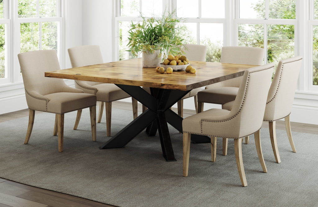 "60"" Square Shiloh Table in Harvest Wheat finish. Also pictured the Ashford Linen dining chair."