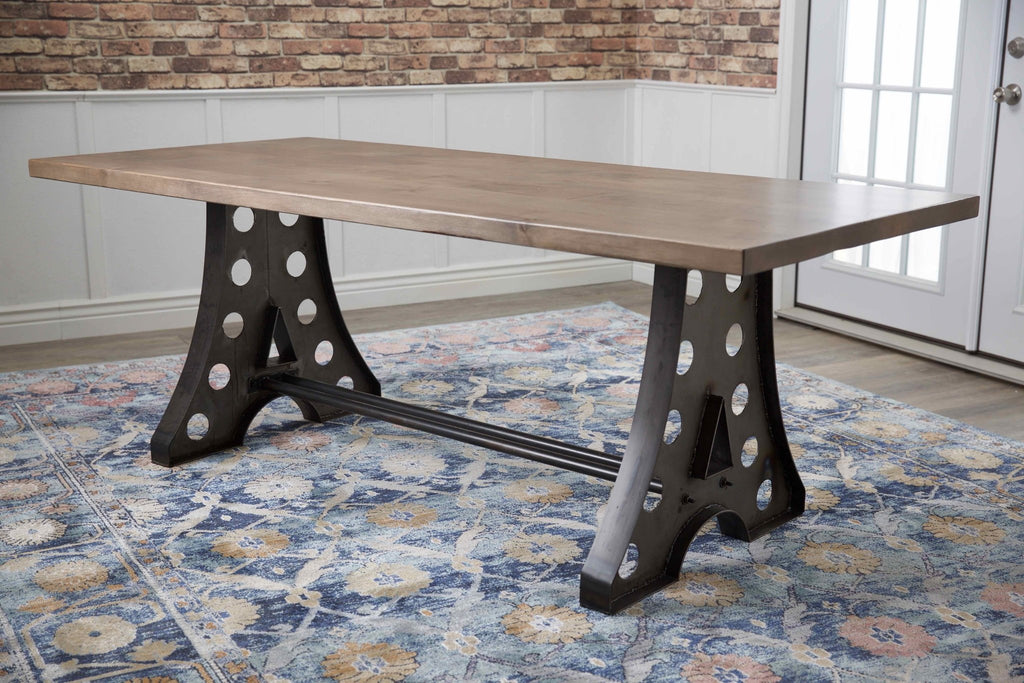 "7' x 37"" Amelia Industrial Table in Barn Wood Finish."