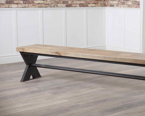 Industrial Steel X-Base Bench