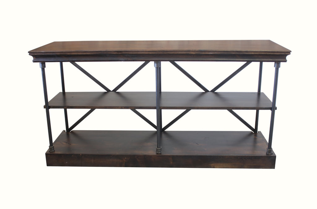 Annie Steel and Wood Console Shelf with Tobacco finish.