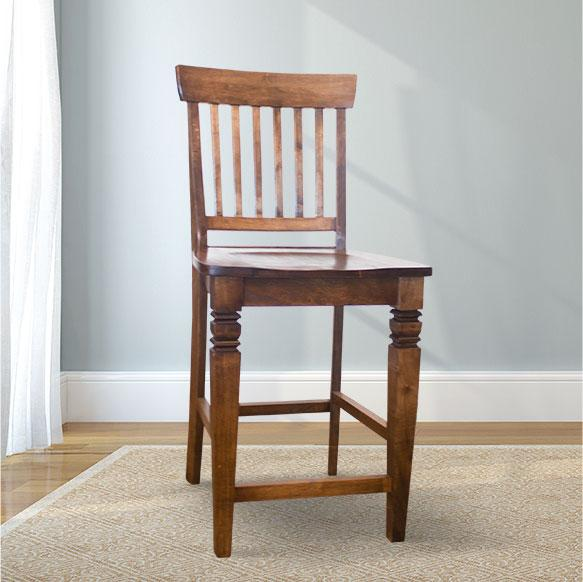 Charlotte Wood Counter Stool in Tobacco Finish