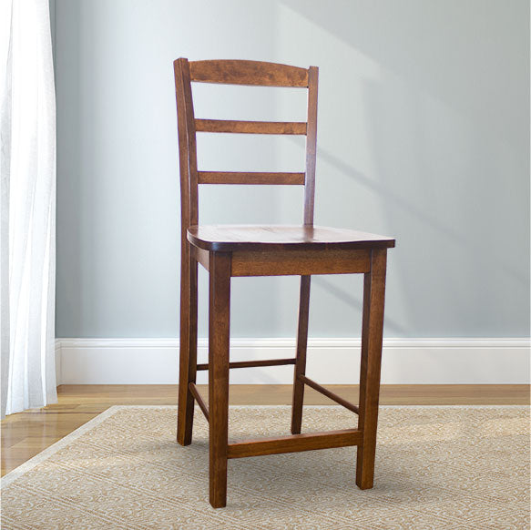 Emma Wood Counter Stool in Tobacco Finish