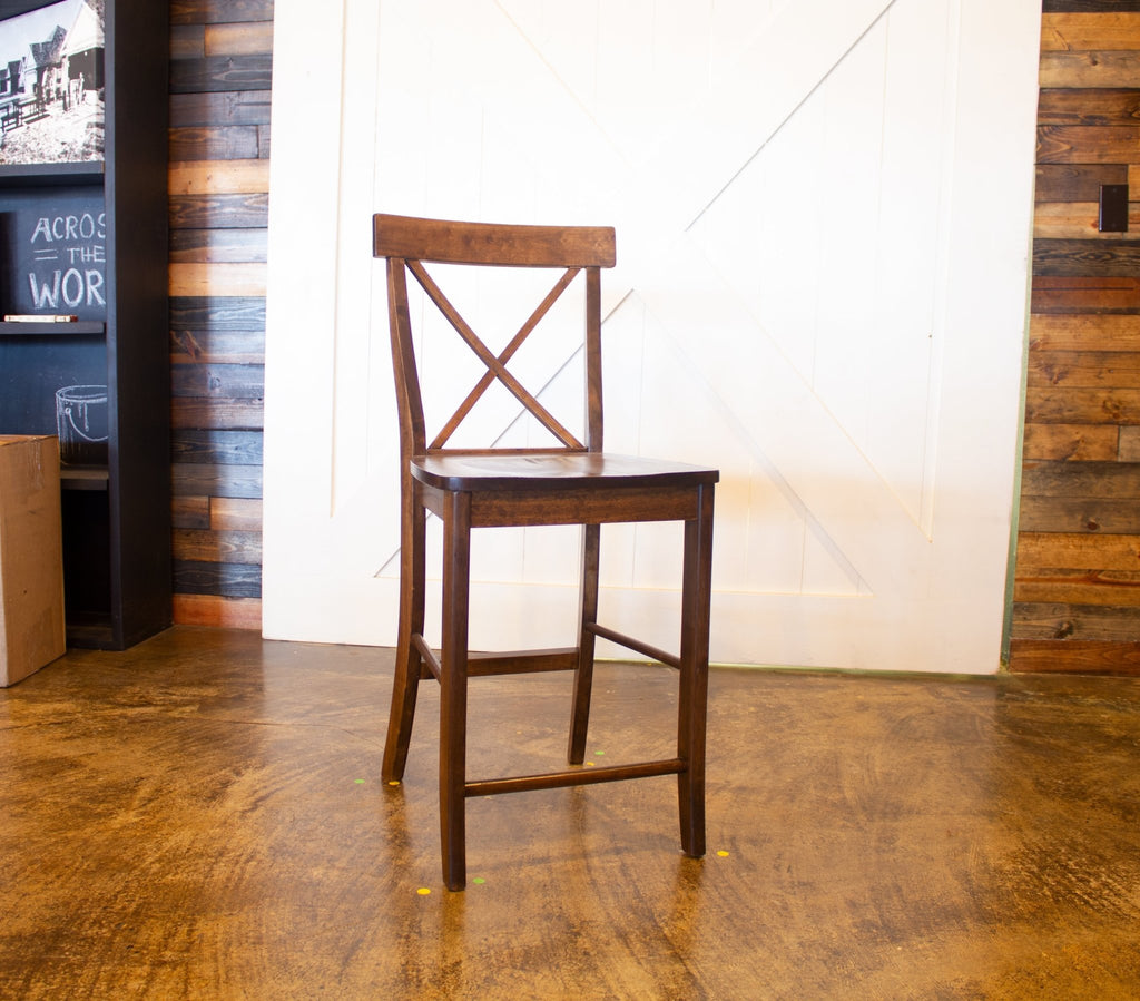 X-Back Counter Stool in Tobacco Finish