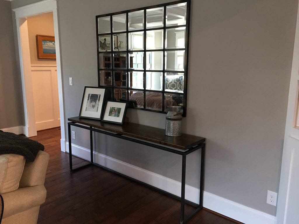 "72"" L Floating Top Steel Base Sofa Table"